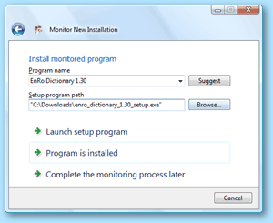 Total Uninstall - Install the monitored program