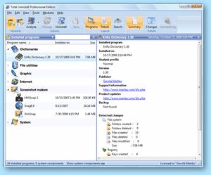 Total Uninstall - Información resumida de programa instalado