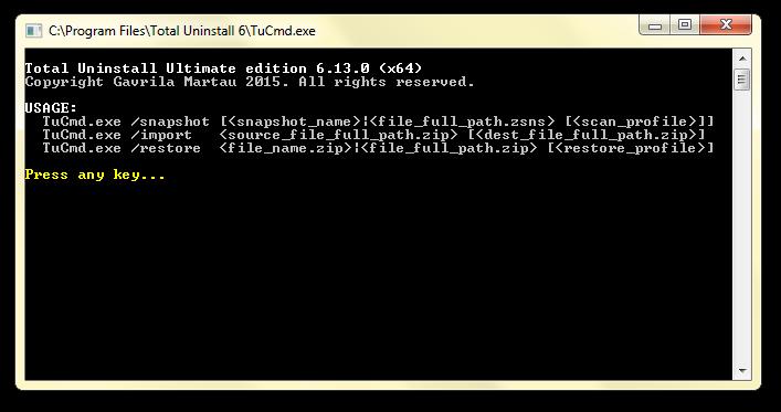 Total Uninstall command-line program options